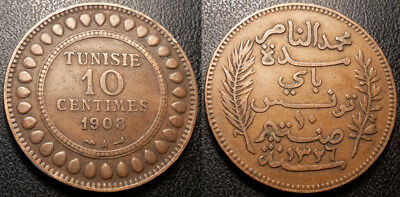 Tunisia - Protectorate French - Muhammad N, Bey - 10 Cents 1908 A