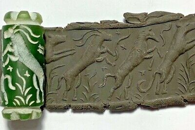 INTACT RARE NEAR EASTERN CYLINDER SEAL - ANIMALS PENDANT 15.2gr 38mm