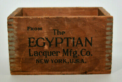 Antique Egyptian Lacquer Mfg Co Wooden Shipping Crate Box New York American 7x4