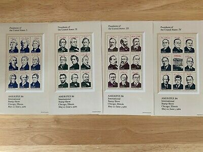 Scott 2216-19 Ameripex '86 Presidents Min Sheets MNH Free shipping in the USA!