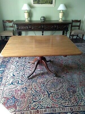 Antique Georgian/Regency mahogany rectangular tilt top dining table