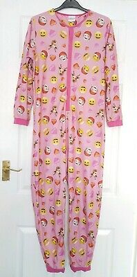 Girls Christmas Emoji all-in-one. Size 13-14 Years. Pink.