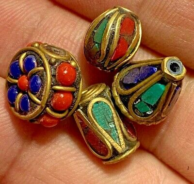 Lot Of 4 Beads Late Medieval Silver Goldplated - Rare Stones Pendant