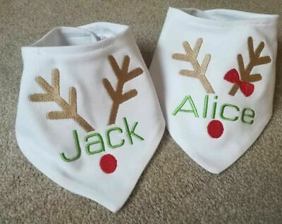 X 9  Christmas bibs Personalised Embroiderd