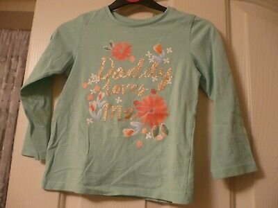 Girls NUTMEG top mint green wit floral DADDY LOVES ME logo age 4-5 worn