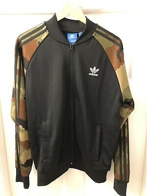 Adidas Track Jacket With Camouflage Sleeve Detail Size L
