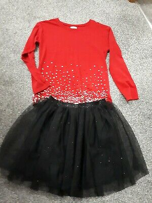Stunning Girls Next Red Sparkly Christmas Party Outfit Age 8-9