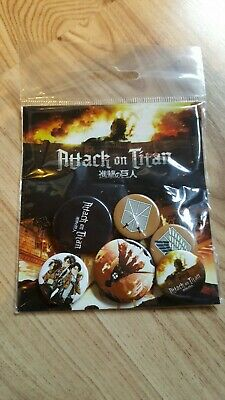 Attack On Titan Button Badges 6 Stück Neu & OVP! Levi, Erin, Armin, Mikasa