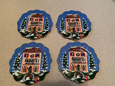 S/4 Anthropologie Rifle Paper Co Nutcracker Suite Dessert Plate Christmas NEW