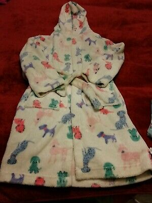Girls John Lewis Super Soft Fluffy Puppy Hooded Tie Dressing Gown Age 11