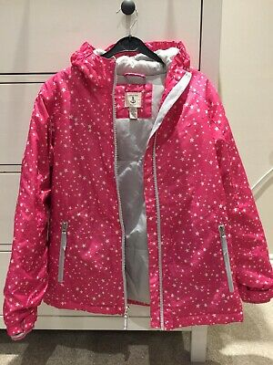Lands End Girls Pink with stars waterproof coat age 9-10 years140-152cm Height