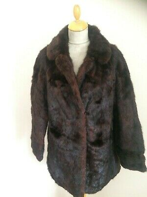 Chestnut  Brown Real Fur  Coat Jacket    Size 16