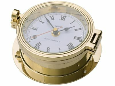 BRASS CLOCK, ROYAL MARINER SHIPS CLOCK 140mm CAST BRASS, SEIKO QUARTZ, #C622L
