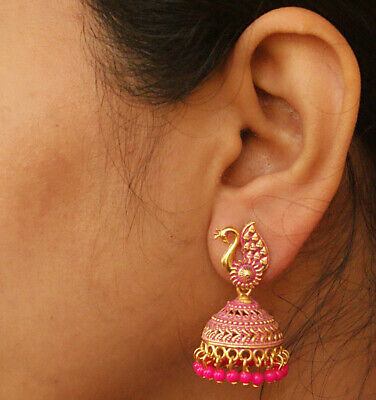 Ethnic Gold Pink Pearl Painted Jhumka Jhumki Indian Earrings Bollywood Jewelry