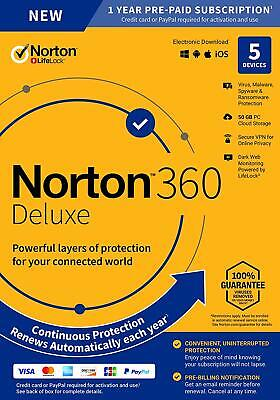 Norton 360 Deluxe 2020 5 Devices VPN 50GB Cloud Parental Internet Security