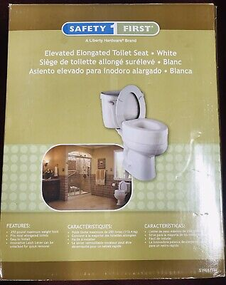 Safety First Elevated Elongated Toilet Seat White S1FE571W NEW