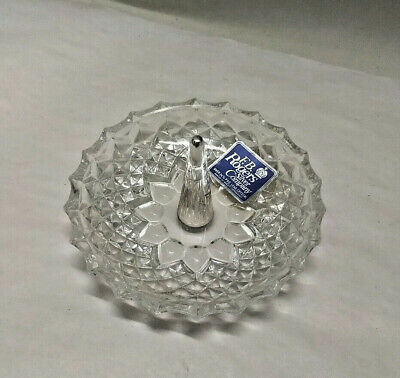 Vintage FB Rogers Silver Co. Glass Lead Crystal Jewelry Ring Holder WEST GERMANY