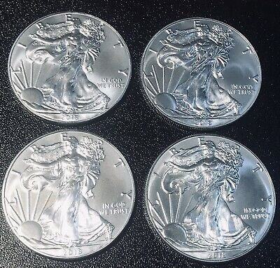 Lot of Four (4) American Silver Eagles 2018