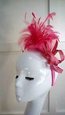 Wedding races occasion fascinator pink feathers