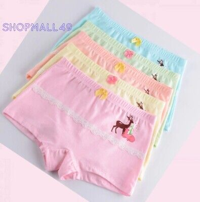 4 Pack Girls Boxer Shorts Briefs Cotton pants Underwear Knickers age 3-11 years