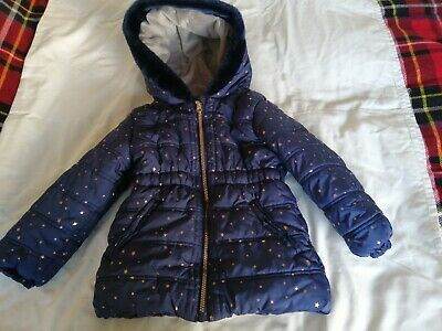 Girls Winter Coat Navy With Gold Stars Padded Age  5-6 Years Hardly Worn