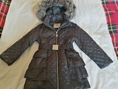 Girls Black Fur Trim Winter Coat Star By Julie Mcdonald Age 4-5 Years