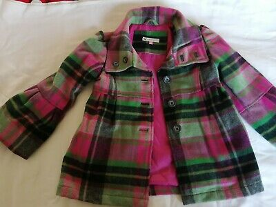 Girls John Lewis Unusual Wool Mix Winter Coat Tartan Age 5 Years