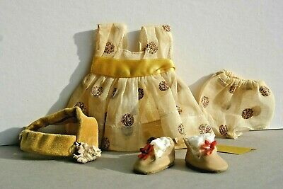 Vintage Vogue Ginny Doll 1956 Outfit # 6063 YELLOW CRAYON DRESS Hat Shoes