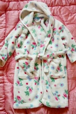 John Lewis Girls Age 6 Fluffy Floral Fleece Dressing Gown Gc