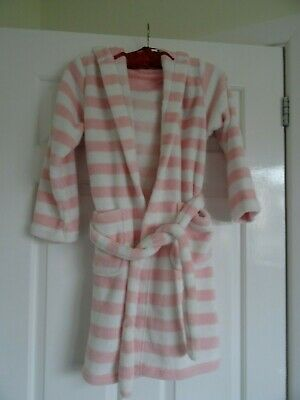 Lovely Soft M&S pink/white stipe  Me To You Dressing Gown Age 7-8 Years VGC