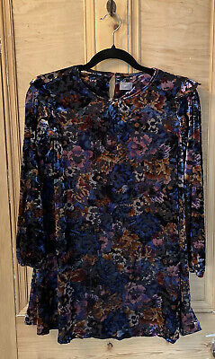 NEXT GIRLS DRESS black Age 11 Years VELVET FLORAL SLEEVES KIDS PARTY tunic