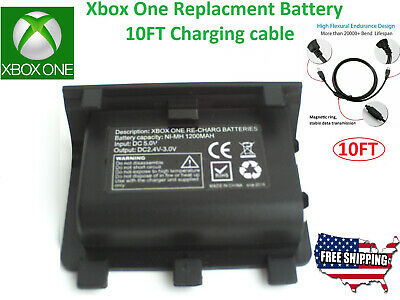 Rechargeable Battery Pack Microsoft XBOX ONE Wireless Controller Charger 10ft