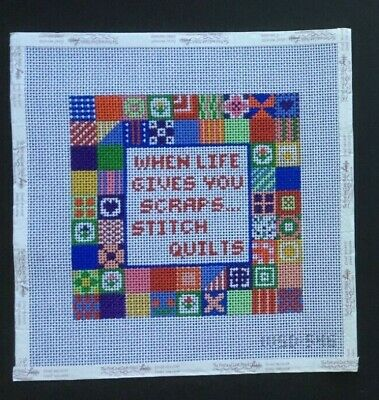 "Winnetka Stitchery Designs Hand-painted Needlepoint Canvas Colorful ""Quilt"""