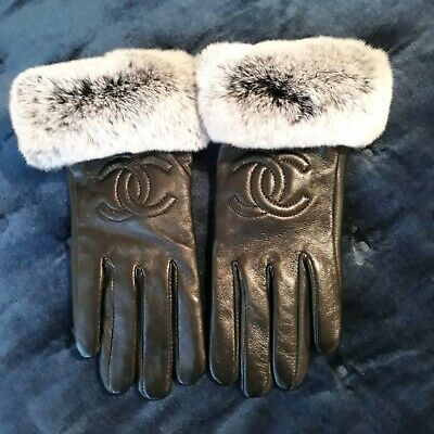 Chanel Chinchilla Fur And Black Leather Gloves