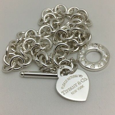 Please Return to Tiffany & Co Silver Toggle Heart Tag Necklace Authentic