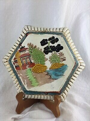 Old Vintage Chinese Asian Jardinere Stand Ceramic Hexagon Hand Painted Gilded