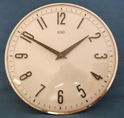 VINTAGE METAMEC KITCHEN WALL CLOCK WHITE CHROME SILVER 50s 60s WIND UP WORKING