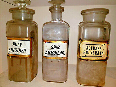 Vintage Apothecary Medicine Bottle Lot - 6 Bottles