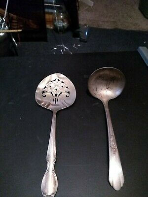 Vintage Wm Rogers Silver/ Silver Plated Spoons Set Of 2