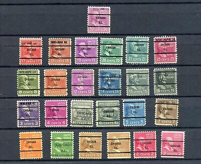 Lot of 25 Used Precanceled Stamps - See Photo's Presidents - EXCELLENT CONDITION