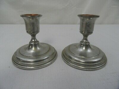 Vintage Colonial Pewter Candle Holders Copper Inserts by Boardman Westinghouse