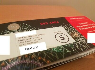 London New Years Eve Fireworks - RED Area x2 - December 2019