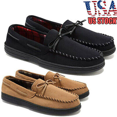 US Stock Men Loafer Slippers Suede Slip On House Shoes Moccasin Memory Foam Flat