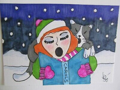 ACEO Original Cat Woman Christmas Carols Colored Pencil Ink Art 2015 njbeanie24