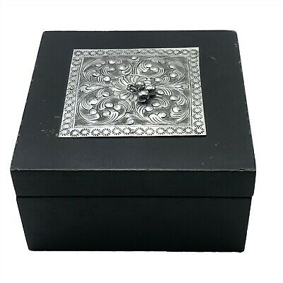 Vintage Wooden Box with Engraved Metal Top Plate 12 x 12 x 7 cm <CT01