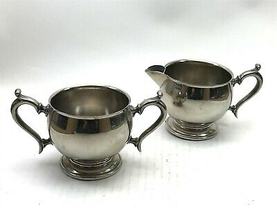 Vintage Silver Plated Milk Jug Creamer & Sugar Bowl Collectable <CA03 (T34)