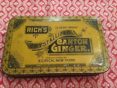 Vtg. Candy Tin Stash Box Can E.c. Rich's Canton Crystallized Ginger Adv. Tin