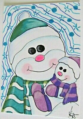 ACEO Original Snowman Snow Baby Winter Colored Pencil Ink Art 2015 by njbeanie24