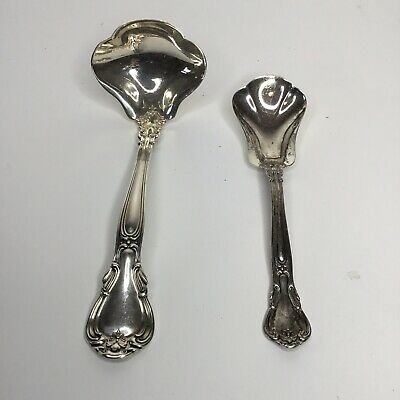 """Vintage Gorham Sterling """"Chantilly"""" Silver Sugar Shell Spoon & Solid Gravy Ladle"""