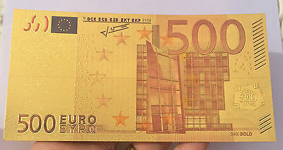 Spectacular 500 EURO Coloured 24K 999.0 Gold Foil Bank Note C.O.A. PACK Europe